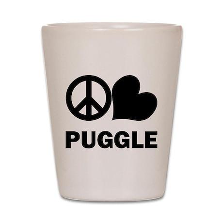 Peace Love Puggle Shot Glass