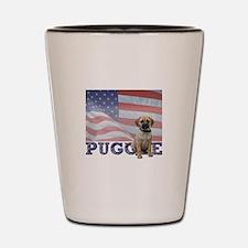 Patriotic Puggle Shot Glass