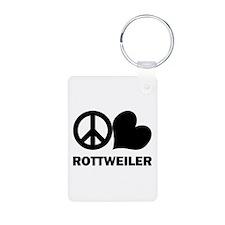 Peace Love Rottweiler Keychains