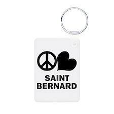 Peace Love Saint Bernard Keychains