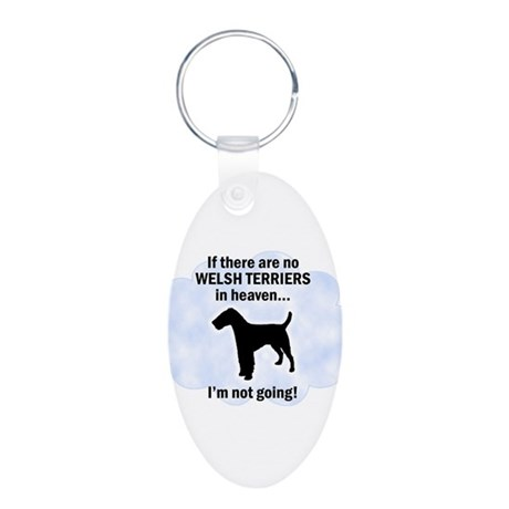 Welsh Terriers In Heaven Aluminum Oval Keychain