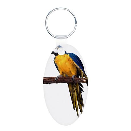 Macaw Photo Aluminum Oval Keychain