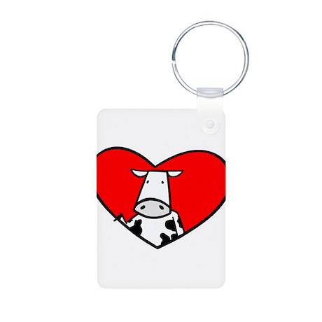 I Heart Cows Aluminum Photo Keychain