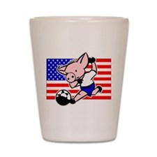 USA Soccer Pigs Shot Glass