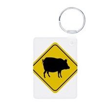 Pig Crossing Sign Keychains