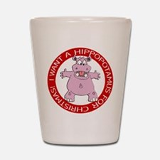 Hippo for Christmas Shot Glass