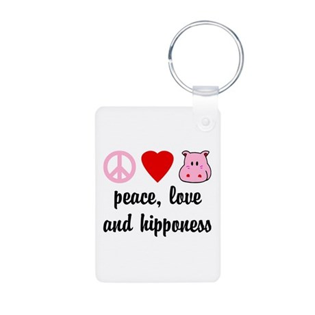 Peace Love and Hipponess Aluminum Photo Keychain