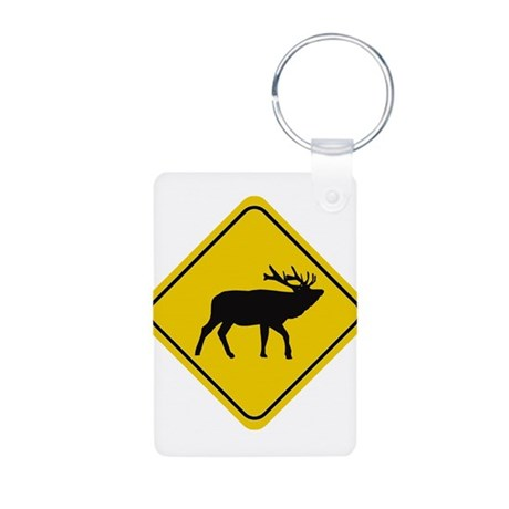 Elk Crossing Sign Aluminum Photo Keychain