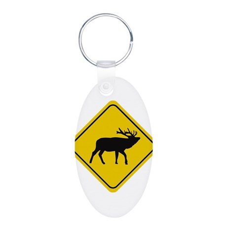 Elk Crossing Sign Aluminum Oval Keychain