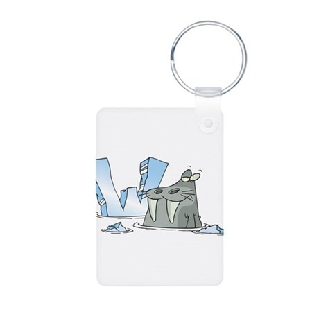 W Is For Walrus Aluminum Photo Keychain