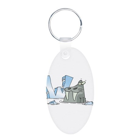 W Is For Walrus Aluminum Oval Keychain