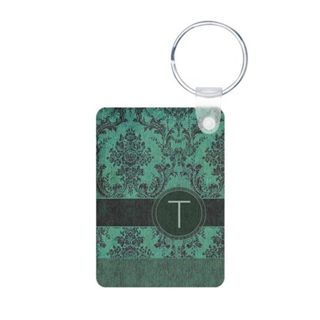 Vintage Damask Monogram Aluminum Photo Keychain
