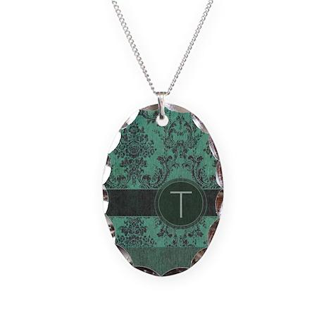 Vintage Damask Monogram Necklace Oval Charm