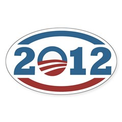 Barack Obama 2012 Icon Oval Bumper Decal