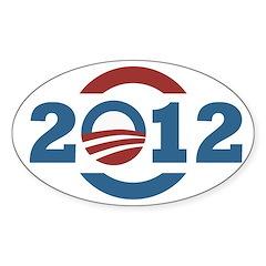 2012 O Obama Symbol Oval Bumper Decal