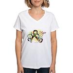 Hope Ribbon Autism Women's V-Neck T-Shirt