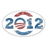 Distressed Obama 2012 Oval Bumper Sticker