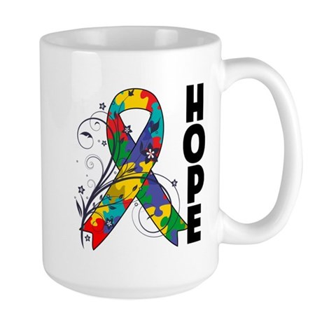 Hope Floral Ribbon Autism Large Mug