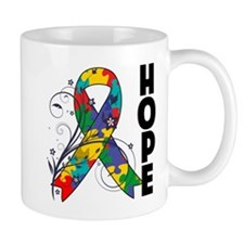 Hope Floral Ribbon Autism Mug