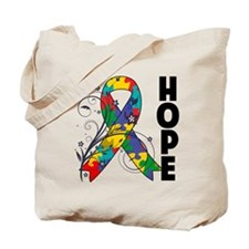 Hope Floral Ribbon Autism Tote Bag