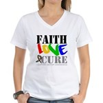 Faith Love Cure Autism Women's V-Neck T-Shirt