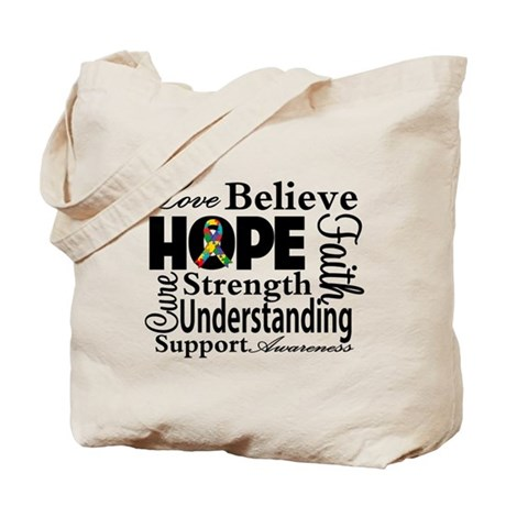 Love Believe Hope Autism Tote Bag