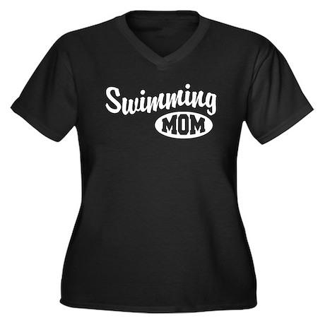Swimming Mom Women's Plus Size V-Neck Dark T-Shirt