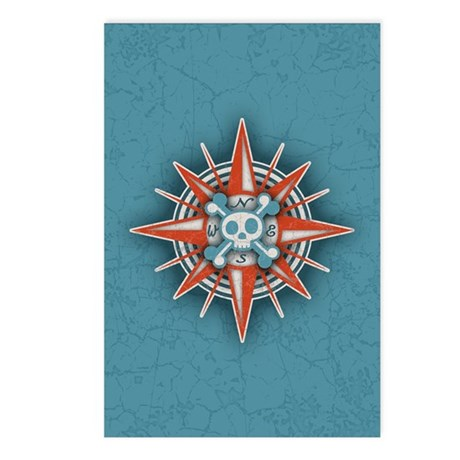 Compass Rose Skull III Postcards (Package of 8)