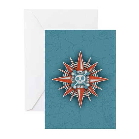 Compass Rose Skull III Greeting Cards (Pk of 10)