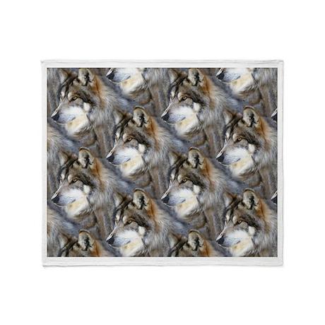 Wolf Head Background Throw Blanket