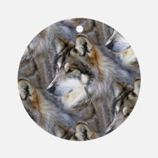 Wolf Head Background Ornament (Round)