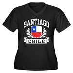 Santiago Chile Women's Plus Size V-Neck Dark T-Shi