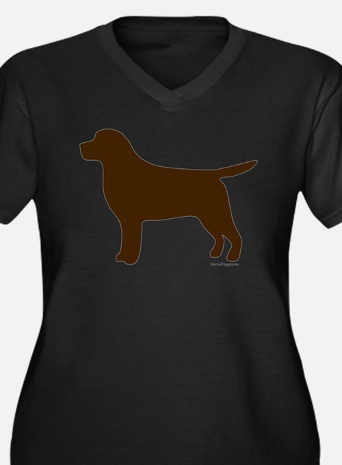 Chocolate Lab Silhouette Women's Plus Size V-Neck