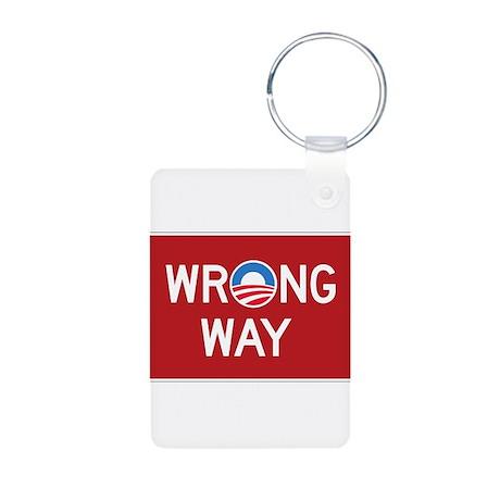Obama Wrong Way Aluminum Photo Keychain