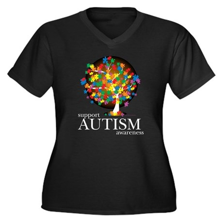 Autism Tree Women's Plus Size V-Neck Dark T-Shirt