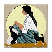 Chihuahuas Lady Moon in Green Tile Coaster
