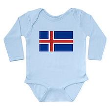 Icelandic Flag Long Sleeve Infant Bodysuit