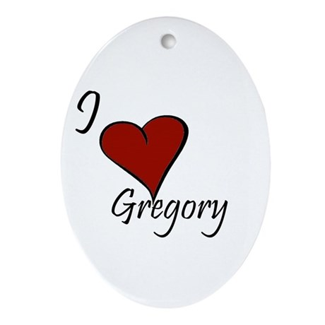 I love Gregory Ornament (Oval)