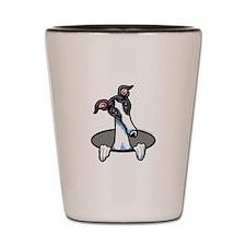 White Black Greyhound Shot Glass