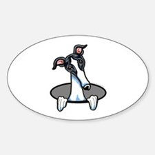 White Black Greyhound Sticker (Oval)
