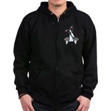 White Black Greyhound Zip Hoodie