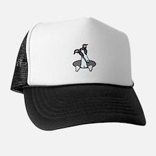 White Black Greyhound Trucker Hat