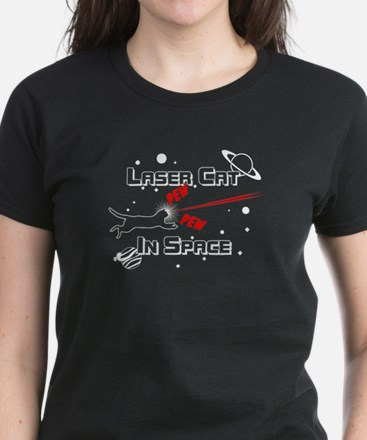 Laser Cat In Space Women's Dark T-Shirt