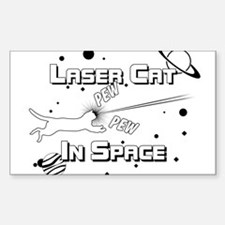 Laser Cat In Space Sticker (Rectangle)