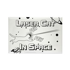 Laser Cat In Space Rectangle Magnet