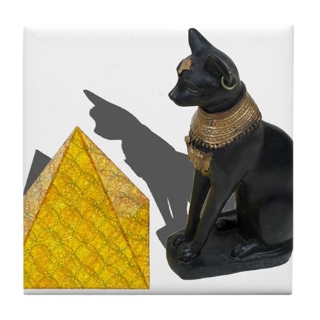 Egyptian Cat Sun Pyramid Tile Coaster
