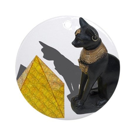 Egyptian Cat Sun Pyramid Ornament (Round)