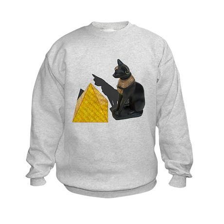 Egyptian Cat Sun Pyramid Kids Sweatshirt