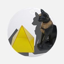 Egyptian Cat Pyramid Ornament (Round)