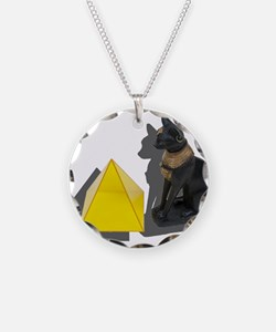 Egyptian Cat Pyramid Necklace